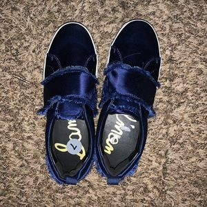 Royal blue satin sneakers